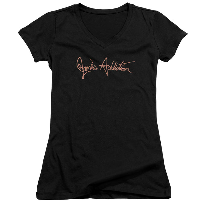 Janes Addiction - Script Logo Junior V Neck Tee - Special Holiday Gift