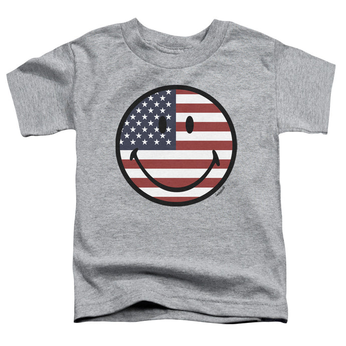 Smiley World - American Flag Face Short Sleeve Toddler Tee - Special Holiday Gift
