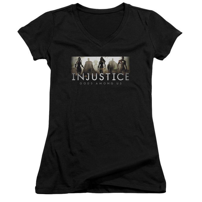 Injustice Gods Among Us - Logo Junior V Neck Tee - Special Holiday Gift