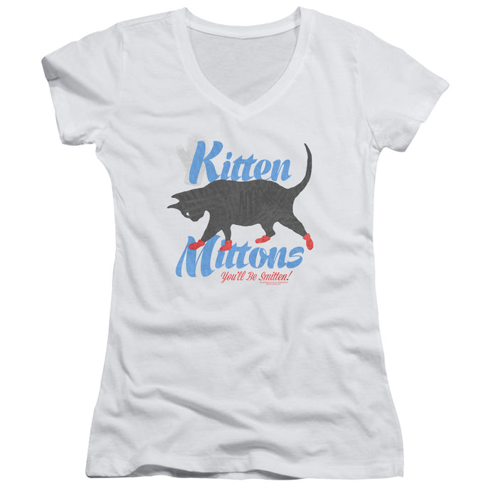 Its Always Sunny In Philadelphia - Kitten Mittons Junior V Neck Tee - Special Holiday Gift