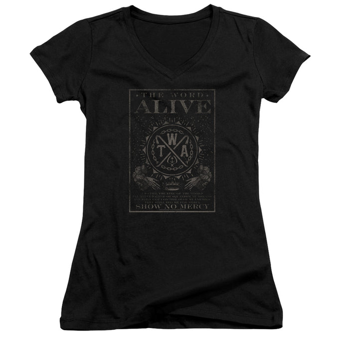 The Word Alive - Show No Mercy Junior V Neck Tee - Special Holiday Gift