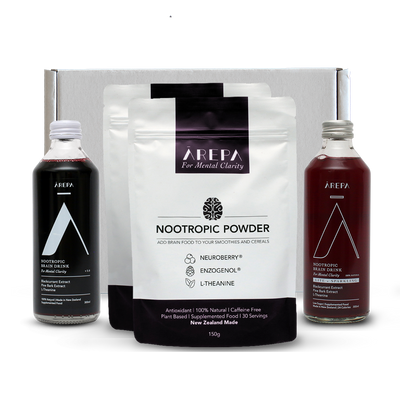 Arepa 2 x Powders Bundle - Drink Ārepa, For Mental Clarity |  Natural Nootropic | Nootropic Drink | Brain Drink | Performance Drink | Nootropics NZ | Enzogenol | L theanine NZ | | Health Drink | Brain Food | Braintenance | Nootropic Powder | Neuroberry | Blackcurrant Drink | Pine Bark Extract | Blackcurrant Extract