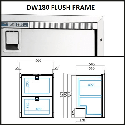 Vitrifrigo DW180RFX 2 Drawer 80 64 Litre Fridge Only + Slam Lock - 042861