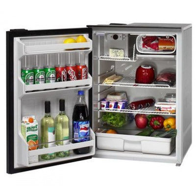 Isotherm CR130 Inox Stainless Steel Matched Fridge/Freezer - 12 or 24 Volts - 122L Litre Fridge with 8 Litre Freezer - Left Hand Door Hinge - RH Handle (1130BB1NK)