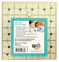 "Quilter's Select Quilting Ruler - Select 4.5"" x 4.5"" Non-Slip Ruler"