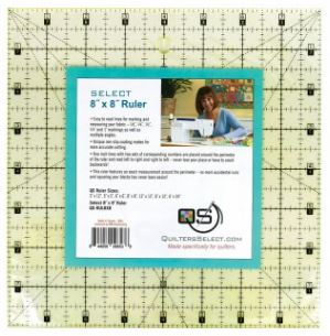 "Quilter's Select Quilting Ruler - Select 8"" x 8"" Non-Slip Ruler"