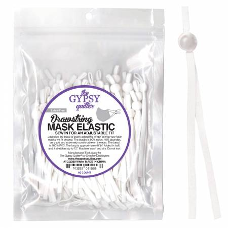 Drawstring Mask Elastic White 8in 60ct