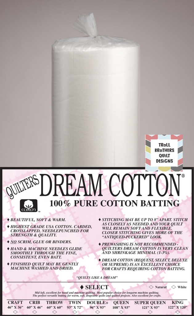 "Quilters Dream Select Cotton - 92"" Natural Full Roll Batting (27m)"