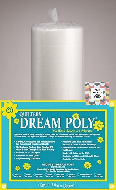 "Quilters Dream Poly Select - 121"" White Full Roll Batting (22m)"