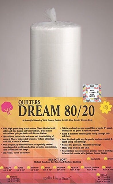 "Quilters Dream 80/20 - 92"" Natural Full Roll Batting (27m)"