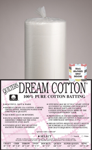 "Quilters Dream Select Cotton - 121"" White Full Roll Batting (27m)"