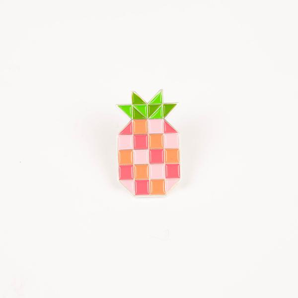 Stately Type Pineapple Block Enamel Pin* **