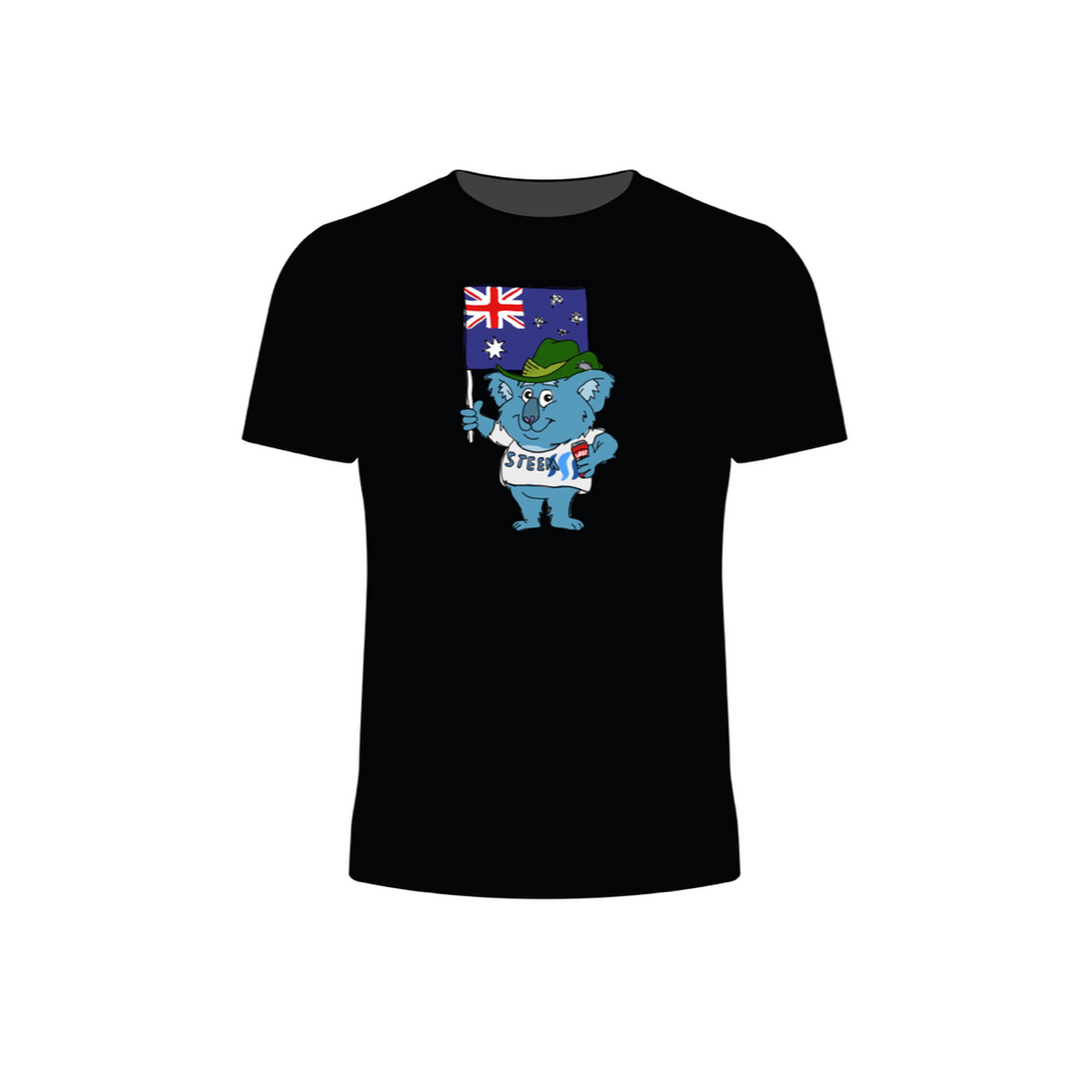 Short Sleeve Aussie Steem Koala T-Shirt (Black)