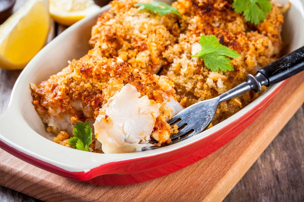 Macadamia crusted Barramundi with carrot salad
