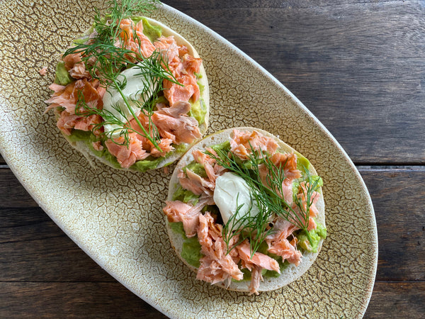 "BBQ Salmon ""Bruschetta"" with Herb Salsa"
