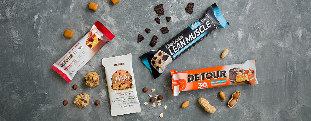 Detour Simple, Lean Muscle, SMART and Lower Sugar bars with chocolate chips, cookie pieces, peanuts and cooke dough balls