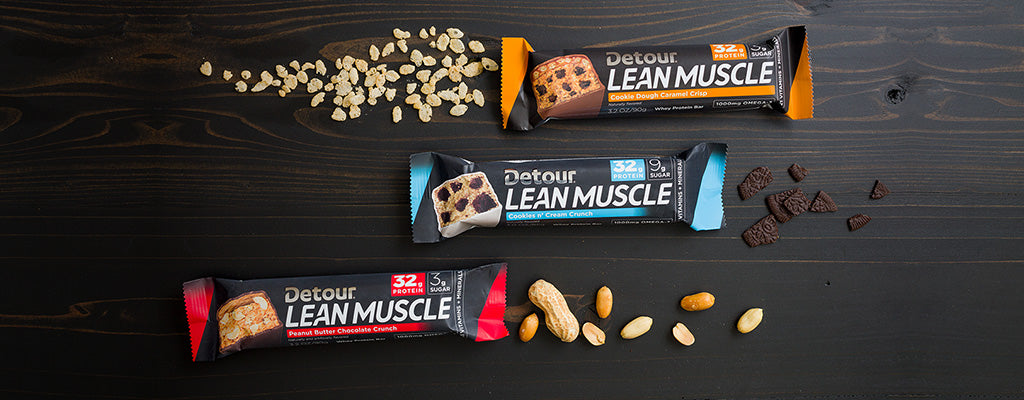 Detour Lean Muscle Cookie Dough Caramel Crisp, Peanut Butter Chocolate Crunch, Cookied n' Cream bars