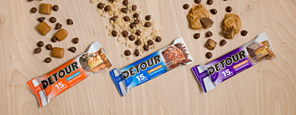 Detour Lower Sugar Caramel Peanut, Chocolate Chip Caramel and Peanut Butter Cream bars