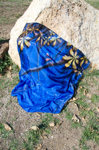 Blue Silk Square Scarf AUDEE