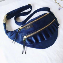Load image into Gallery viewer, Blue Velvet Ruffle Bag (Gold)