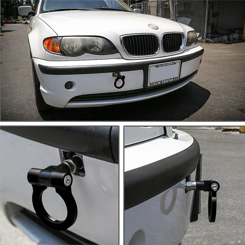 TOW HOOK ALUMINUM ALLOY FRONT / REAR CAR TRAILER RING KIT - Dudevillage