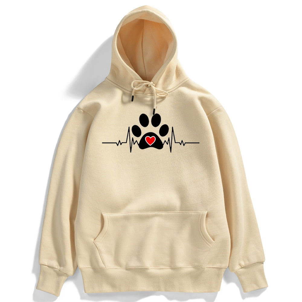 Dogs Paw With Heart -  Hoodie