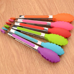 STAINLESS STEEL TONGS WITH COLORFUL SILICONE TIPS - Dudevillage