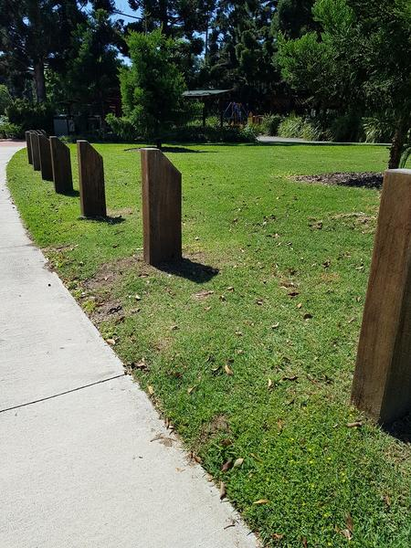 Brisbane City Council - Angled / Mitred Top Timber Bollard