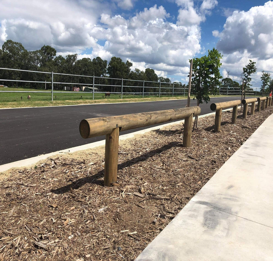 Brisbane fence log barrier 600mm high - Timber Bollards | Brisbane City Council Timber Bollards | Bollards