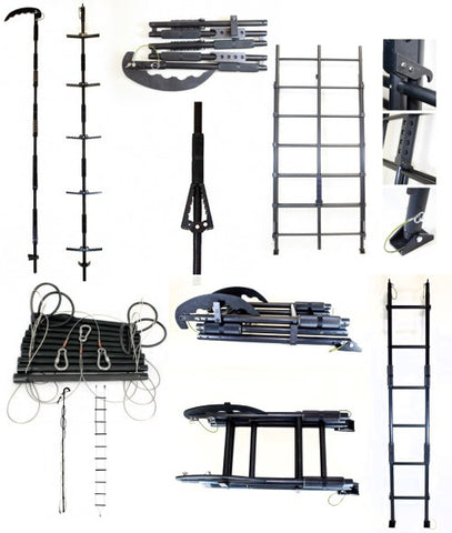 Solid breaching ladders Collapsible breaching ladders Folding rung ladders Cable ladders Pole ladders Quick fold-out ladders Ladders for aircraft use