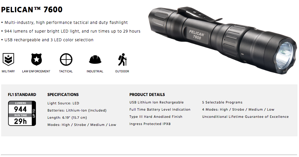 Pelican 7600 Tactical Flashlights for Police Security Use Tactical Gear Australia