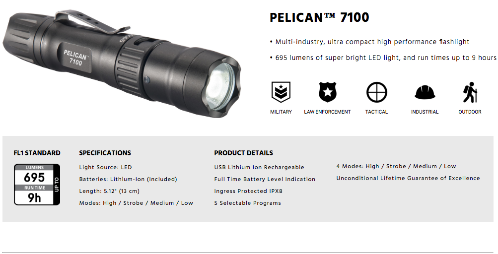 Pelican 7100 Tactical Flashlight Australia Tactical Gear
