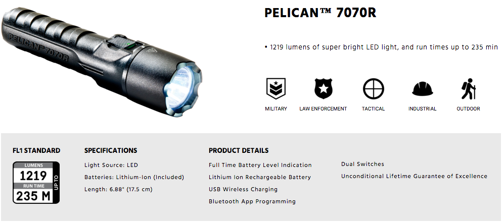 Pelican Flashlights Australia 7070R Torch for Police and Security Use