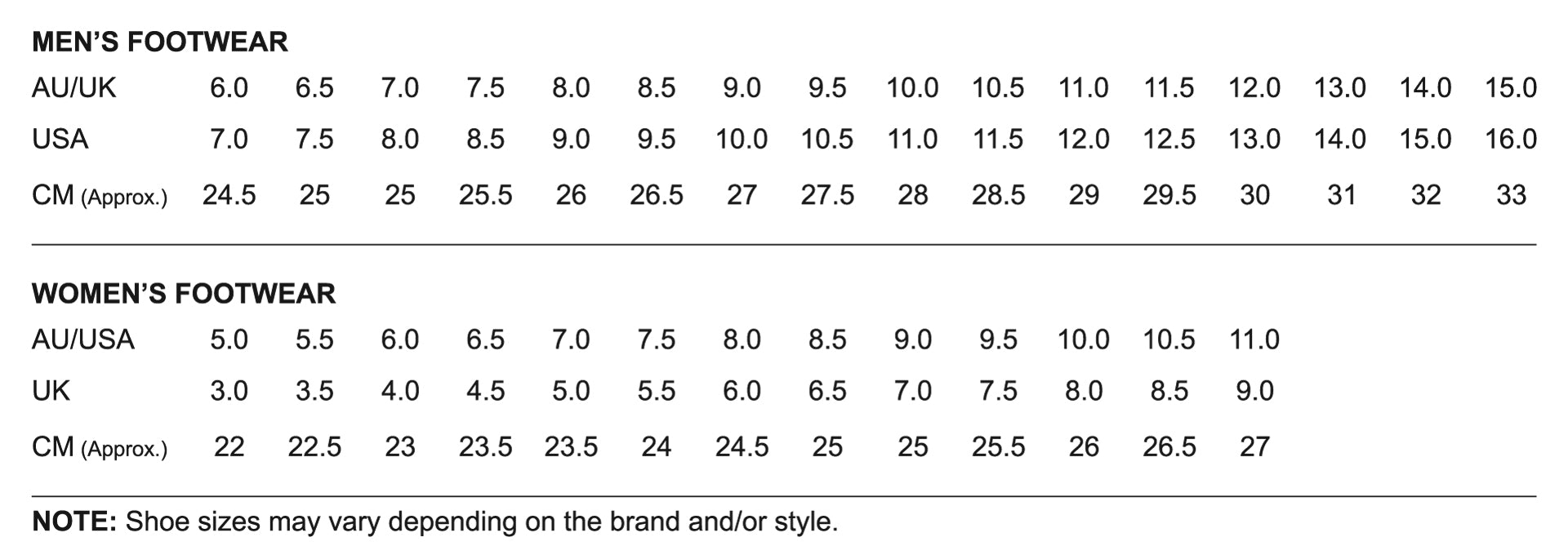 Footwear Sizing Chart Australia New Zealand UK and USA Footwear Sizing