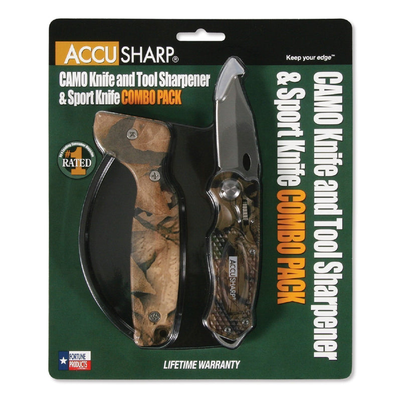 AccuSharp Sharpener and Sport Folding Knife Cmb - Camouflage-Sharpeners-Tactical Gear Australia