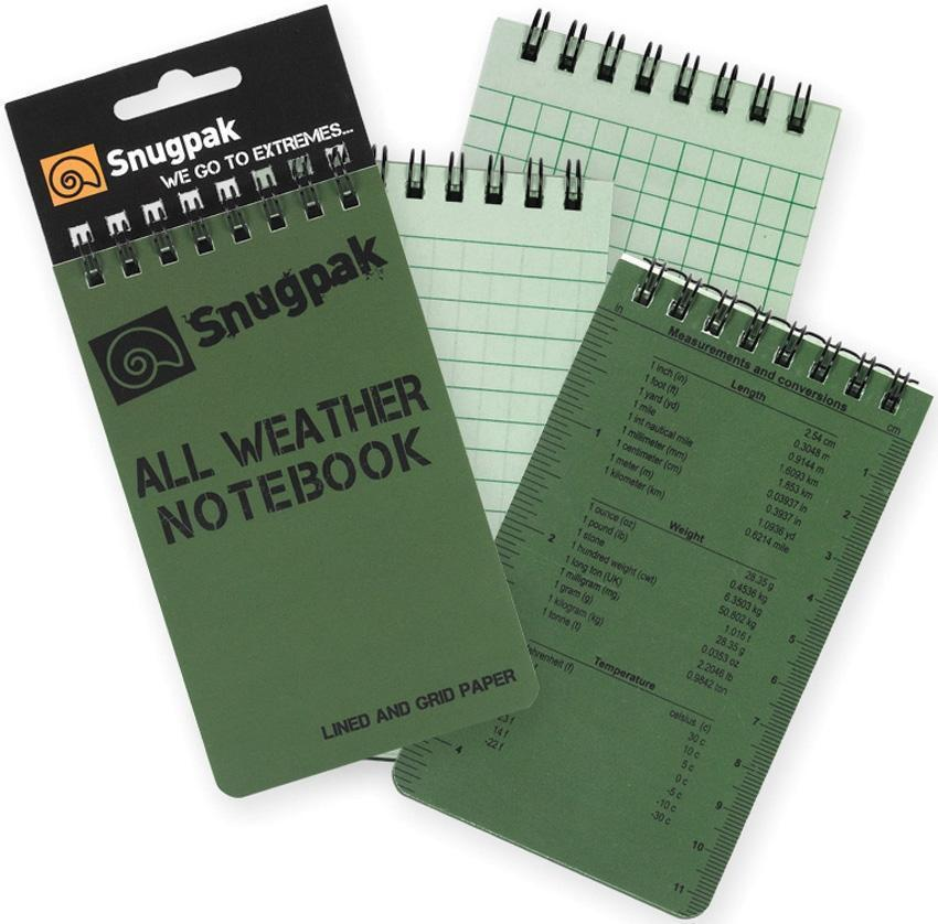 Snugpak All Weather Notebooks OD Green-Pens, Notebooks and Stationery-Tactical Gear Australia