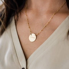 Aimee Necklace great for moms on Mother's Day with child's initials