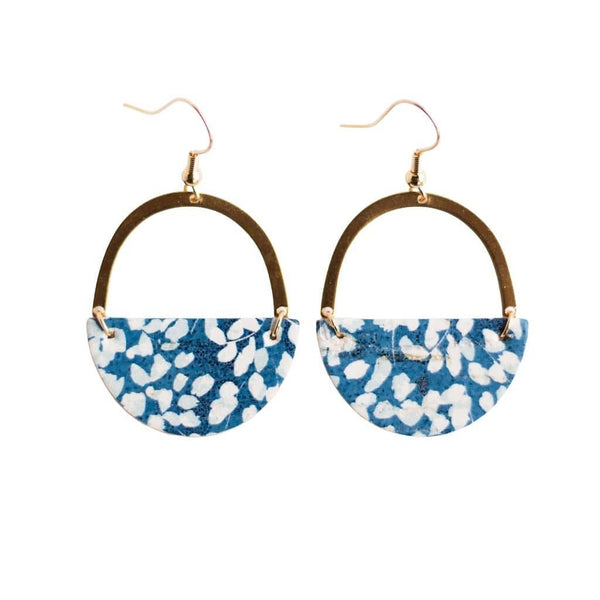 blue floral leather earrings sela designs