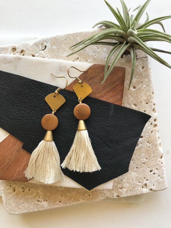 Ivory Blake Tassel Earrings