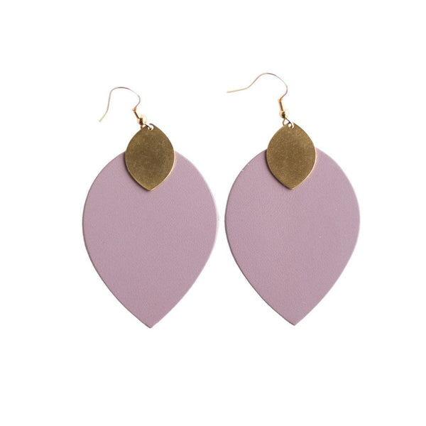 lavender teardrop leather earrings sela designs