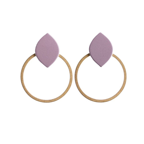 purple post hoop earrings sela designs