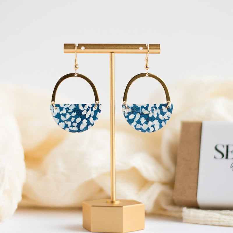 blue floral spring earrings sela designs