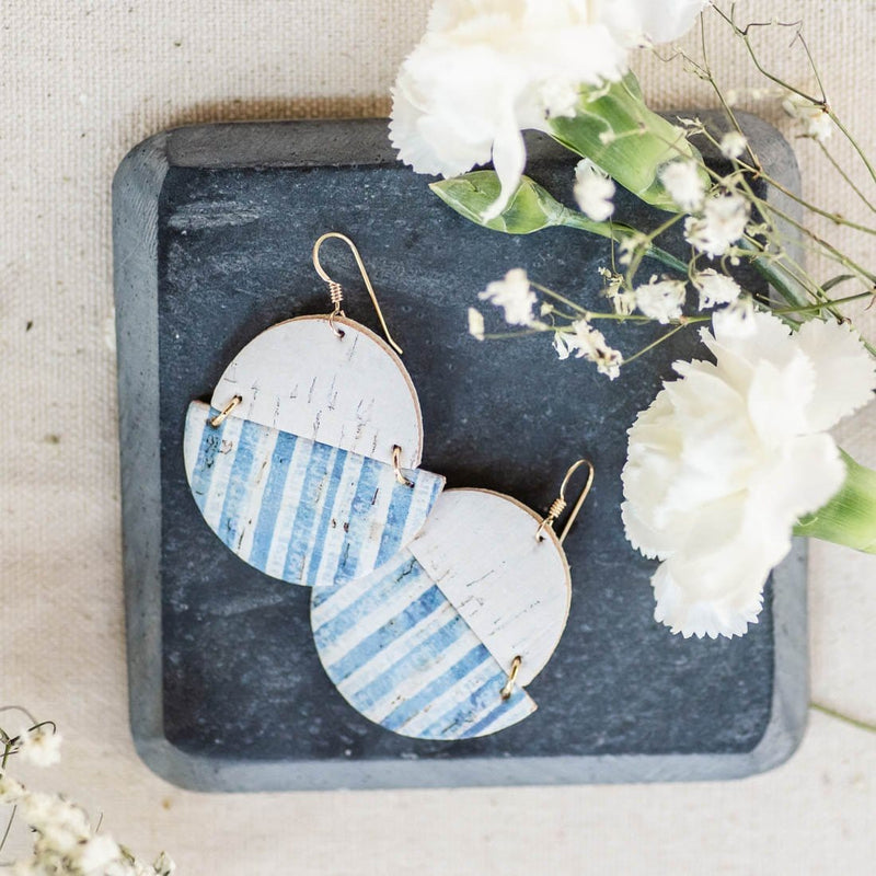 blue white stripe cork statement earrings sela designs