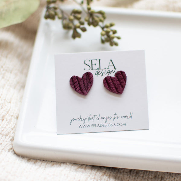 Heart Leather Studs