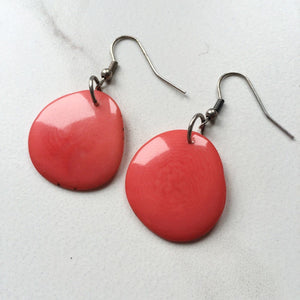 Coral Tagua Earrings - SMALL - Sela Designs