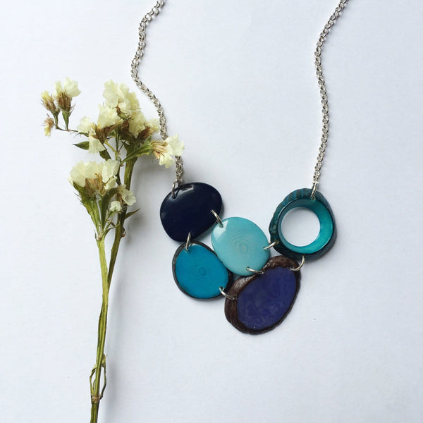 blue tagua necklace. mid size necklace. eco friendly ethically sourced tagua jewelry by sela designs.