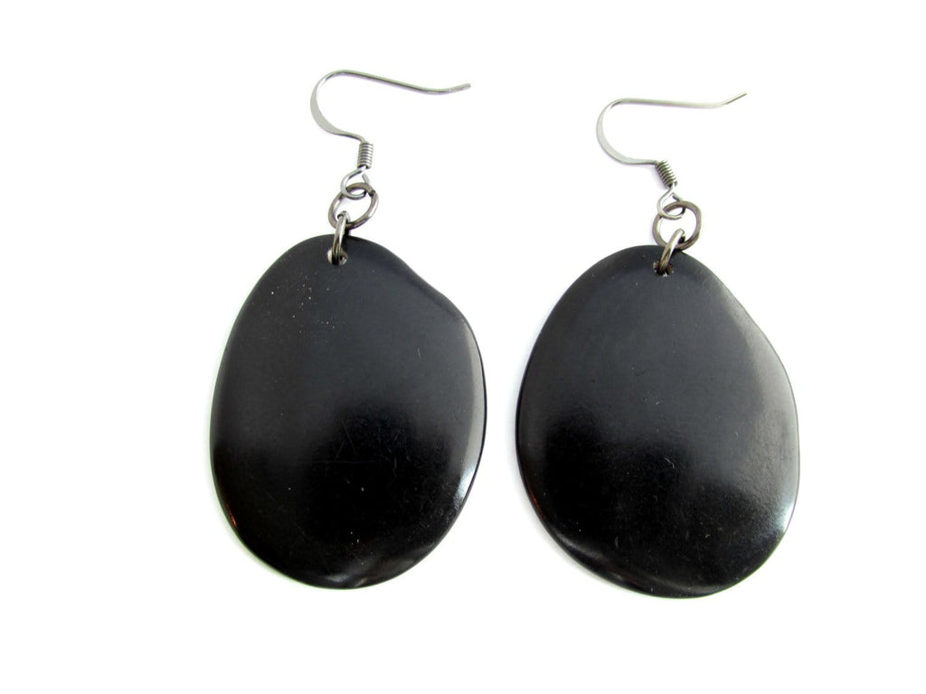 Black Tagua Earrings - LARGE - Sela Designs