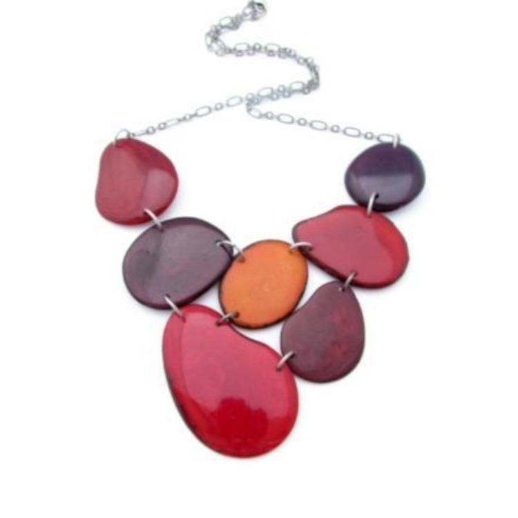Tagua nut necklace statement necklace by Sela Designs red bib necklace gifts for women jewelry for women over 50