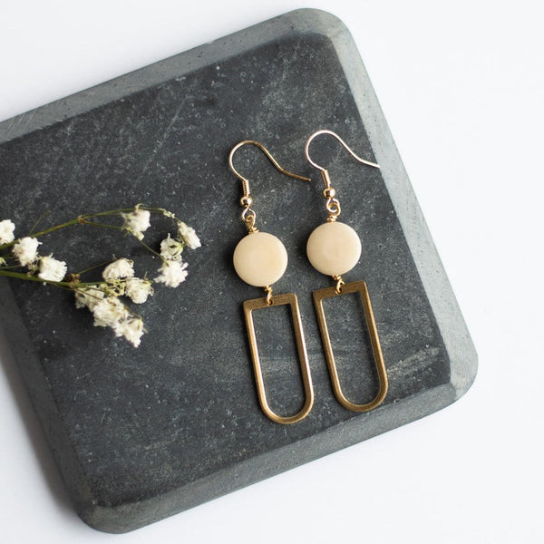 ivory gold dangle earrings ethically made eco friendly