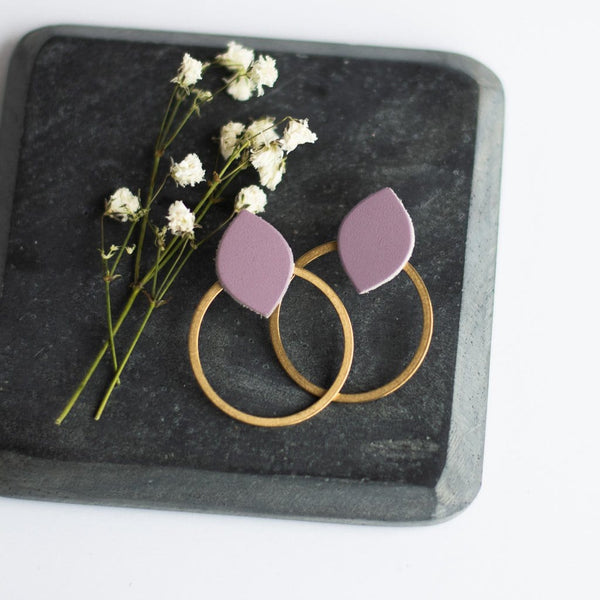 spring lavender post earrings leather and gold sela designs
